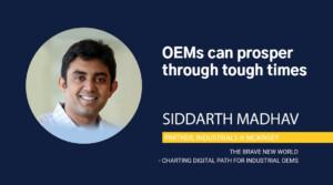 Siddarth Madhav with text oem can prosper through tough times